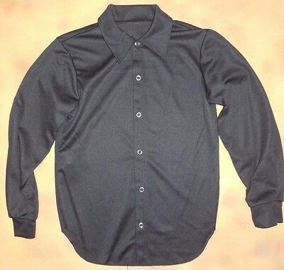 NWOT Black SNAP FRONT LONG SLEEVE DANCE SHIRT Knit polyester Boys/ Mens Dance