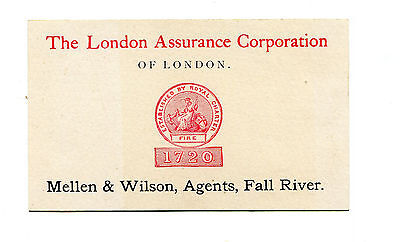 Vintage Advertising Card LONDON ASSURANCE CO 1880 financial stataement insurance