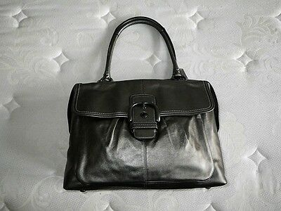 534a8efae9 Coach Addison Gray Metallic Leather Laptop Business Travel Tote Bag Purse  Rare!