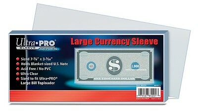 200 Ultra Pro Currency Soft Poly Sleeves  - Large Bill Holder Storage Protection
