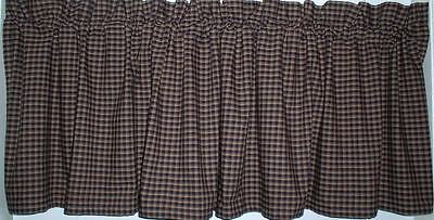 Americana Navy Plaid Homespun Valances Tiers Primitive Country Curtains Cabin