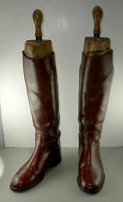 Leather hunting/riding boots with wood forms (early 20th Century)
