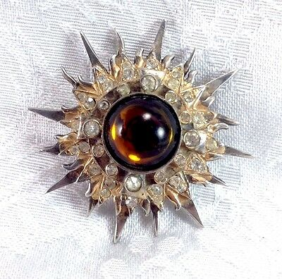 Vintage Mosell Sterling Costume Jewelry Sun Mid Century Brooch Pin Jewelry