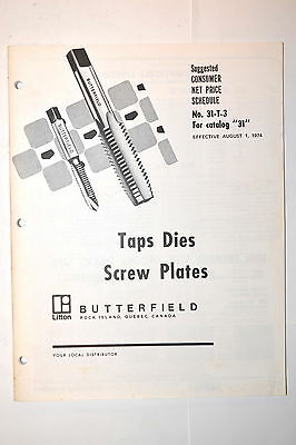 BUTTERFIELD TAPS DIES SCREW PLATES Catalog  1974 #RR802