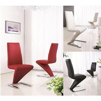 Deluxe Modern Designer Leather Chrome Z Dining Living Room Chairs