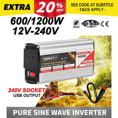 Pure Sine Wave 600W Max 1200W 12V-240V Power Inverter Car Caravan Camping Boat