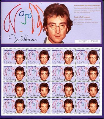 Azerbaijan 1995 John Lennon Limited Edition Sheet Of 16 Stamps Mint Complete