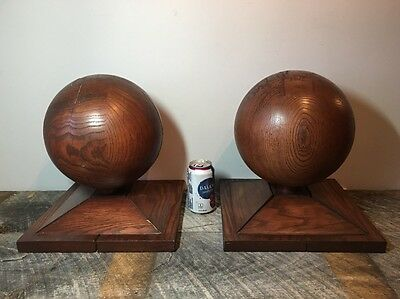 Pair Of Large Architectural Salvage Oak Newell Post Finials Antique Original