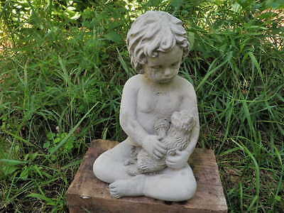 "Cement Statue 10"" Girl w/Kitten Cat Garden Art Concrete Weathered"
