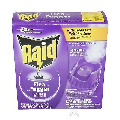 Raid 3 Pack 5oz each Kills Fleas and Eggs Flea Killer Plus Foggers Total 15 oz