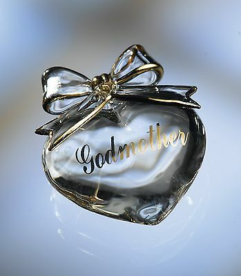 Godmother Gift Crystal Heart in Message Box  NEW  9800