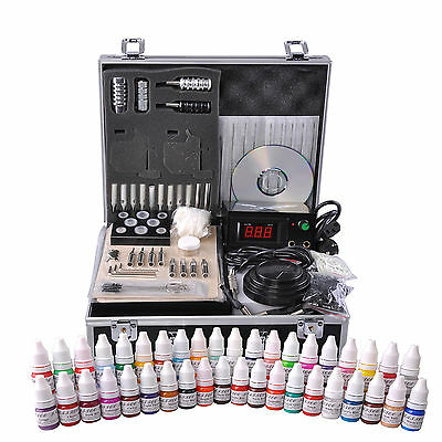 Complete Tattoo Supply Kit Case 40 Ink LCD Power Needle Grip Tip Grommet Salon