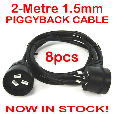 8x 2 Metre H/Duty Extension Lead Piggy Back Piggyback Cord Cable Black 1.5mm 2M