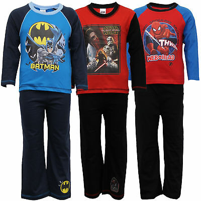 Boys Pyjamas Kids Set Batman Spiderman Print Top Bottoms By Marvel Star Wars
