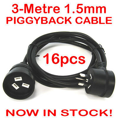 16x 3 Metre Pro Extension Lead Piggy Back Black Mains Cable Piggyback 1.5mm 3M