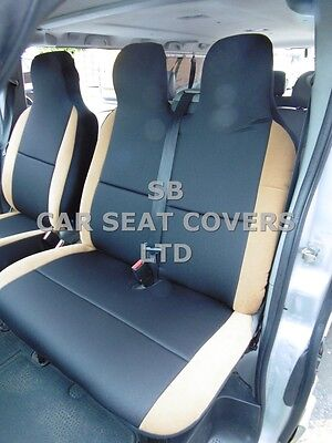 To Fit A Ford Transit Custom Van, 2016, Seat Covers, Graphite + Tan Suede 1S +1D