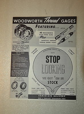 WOODWORTH THREAD GAGES CATALOG (JRW #084) Machinists Metrology