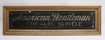 American Gentleman Shoe Sign Large Clear Glass W/ Gold Foil Inlay Framed 1907
