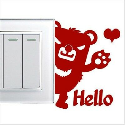 Brown Bear Shaped Light Switch Wall Decal Sticker (Brand New)