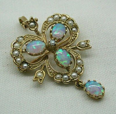 Vintage Wonderful Gold Opal And Pearl Shamrock Style Brooch / Pendant