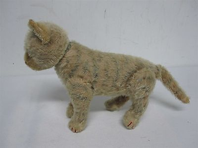 """ANTIQUE STEIFF MADE US ZONE GERMANY 6.25"""" STRIPED TABBY CAT w JOINTED LEGS HEAD"""