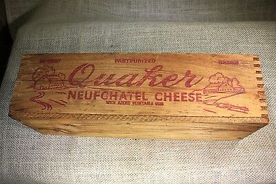 QUAKER Pa farms Neufchatel CHEESE wood box vintage old BARN pictures dovetail