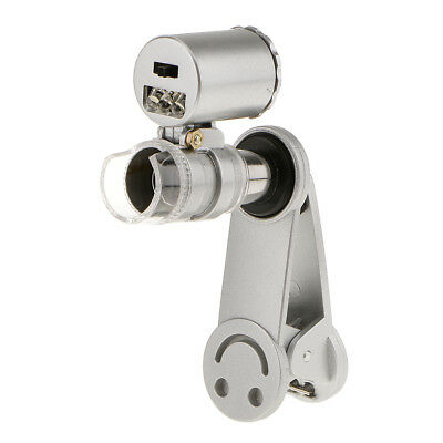 60X Zoom Cell Phone Camera Optical LED Clip Magnifier Microscope Micro Lens