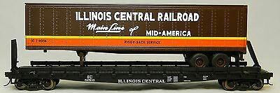 "NIB S MTH 35-76024 Flatcar w 48"" Trailer Illinois Central #62810"
