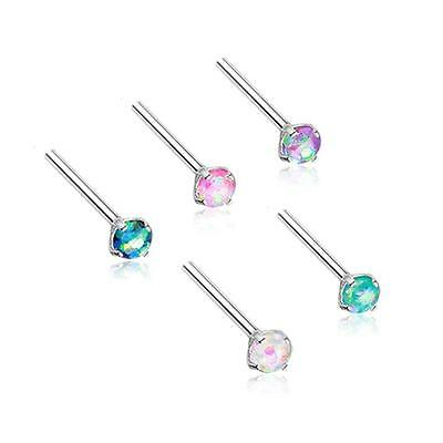 Surgical Steel Straight Screw L Bend Choose Your Color 3mm Opal Stud Ring 20G