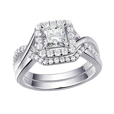 925 Sterling Silver Women's Wedding Band AAA CZ Bridal Engagement Ring 3pc Set