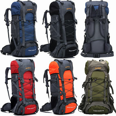 60L Large Camping Rucksack Backpack Hike Outdoor Military Tactical Travel Bag UK