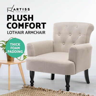 Lorraine Wingback Armchair Tub Lounge Wing Sofa French Linen Fabric Amber