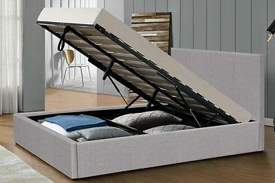 Ottoman Bed Grey Fabric Under Bed Storage Single Double King Size