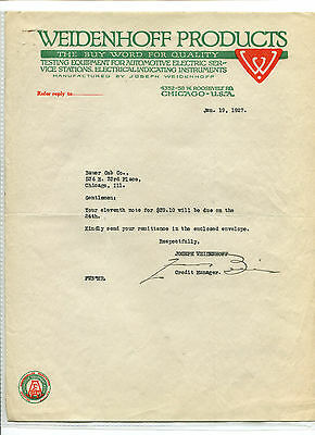 Illustrated Letterhead WEIDENHOFF PRODUCTS Auto Testing Equipment Chicago 1927