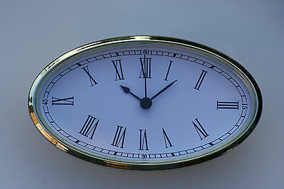Large Oval Clock Suitable for Caravans, Motorhomes and Boats White Roman dial.