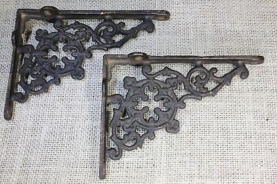 "2 Shelf brackets 4 X 5"" old lattice rustic iron vintage painted cast iron"
