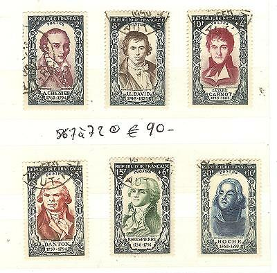 Lot Timbres Personnages N° 867 A 872 Timbres France Obliteres Cote € 90