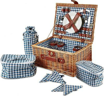 Andrew James 4 Person Luxury Wicker Basket Picnic Hamper with Blue Check