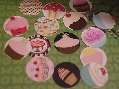 Pre Cut One Inch CUPCAKES Bottle Cap Images! FREE SHIP