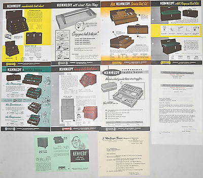 10 PC KENNEDY TOOL Machinist TACKLE  BOX CHEST ADVERTISEMENT LOT & LETTER #RR573