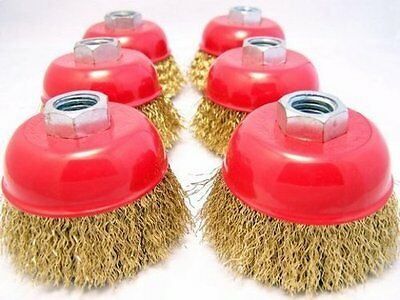 """(6-pack) 3"""" Cup Brush 5/8-11nc brass coated crimped steel wire 0.012-inch 0.3mm"""