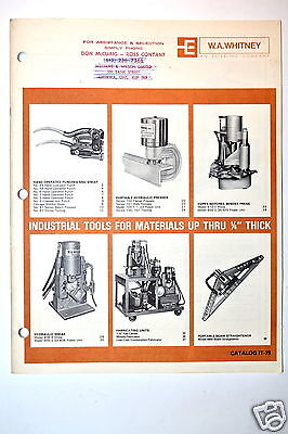 """W.a. Whitney Industrial Tools For Materials Thru 1/4"""" Thick Catalog It-79 Rr246"""
