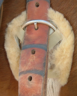 Tan Pair Sheepskin Horse Girth Cinch Ring Covers Comfort + Pads Billet Buckles