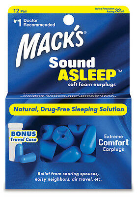 Macks (Mack's) Sound Asleep Earplugs x 12 Pair (FREE UK P&P)