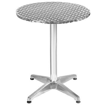 "23 1/2"" Patio Bar Pub Restaurant Adjustable Aluminum Stainless Steel Round Table"