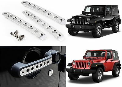 3pc Polished Aluminum Grab Handle Covers For 2007-2017 Jeep Wrangler 2 Door New