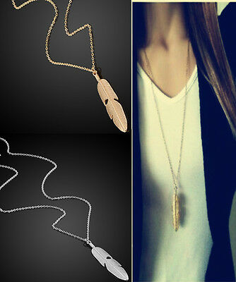 Vintage Long Chain Feather Women Pendant Necklace Sweater Statement Jewelry
