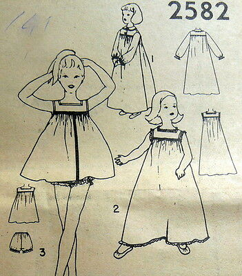 LOVELY VTG 1950s GIRLS NIGHTGOWN & BLOOMERS Sewing Pattern 12 UNCUT