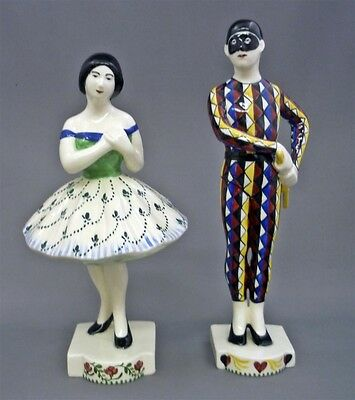 Pair c1906 Rasmus Harboe Aluminia Faience Harlequin Columbine Figurines 514-466