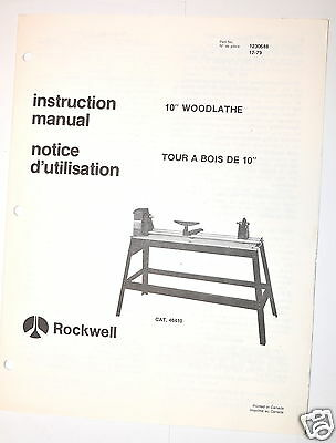 "ROCKWELL Manual: 10"" wood lathe #46-410 + parts list + Nuts&Bolts Wood lathes"